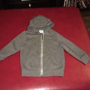 Old Navy gray boys 5t zip up sweatshirt with hood.